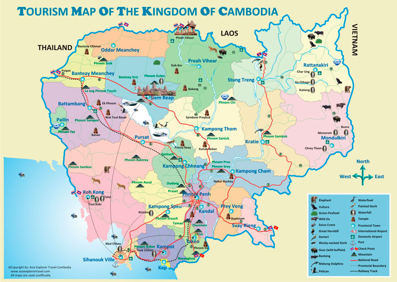 Tourism Map of Cambodia